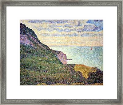 Seurat's Seascape At Port Bessin In Normandy Framed Print by Cora Wandel