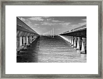 seven mile bridge BW Framed Print by Rudy Umans