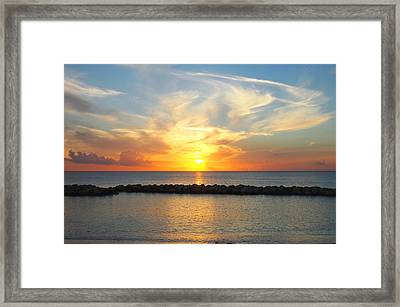 Seven Mile Sunset Over Grand Cayman Framed Print by Amy McDaniel