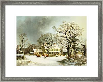 Seven Miles To Salem Framed Print by George Henry Durrie