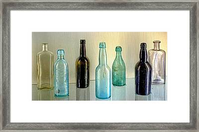 Seven Old Bottles Framed Print by Ludwig Keck