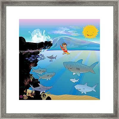 Seven Scary Sharks - Square Framed Print