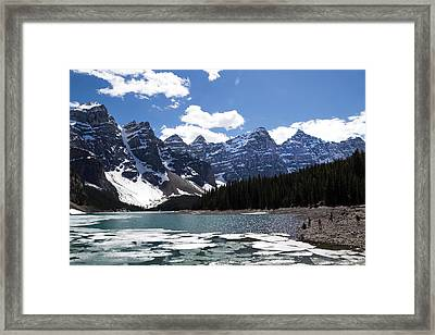 Seven Sisters At Moraine Lake Framed Print by Angela Boyko