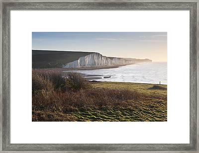 Seven Sisters Sunrise Viewed From Seaford Head Framed Print by Matthew Gibson