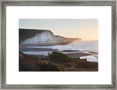 Seven Sisters Sunrsie Viewed From Seaford Head Framed Print by Matthew Gibson