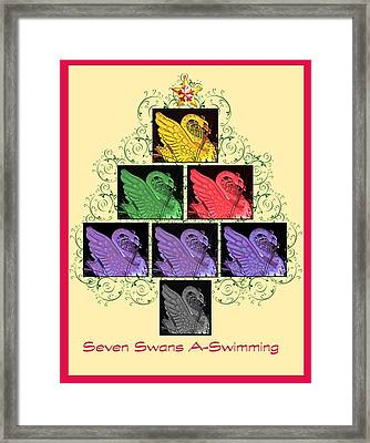 Seven Swans A-swimming Framed Print by Marian Bell
