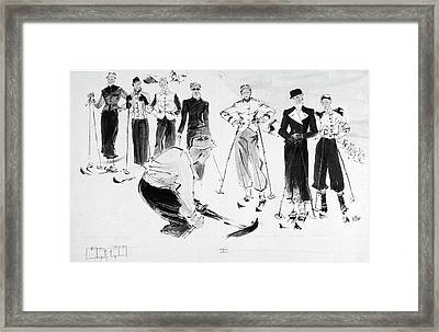 Seven Women Wearing Ski Outfits Framed Print