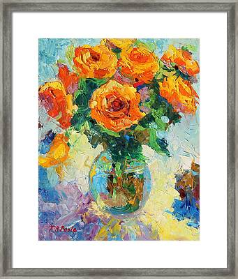 Seven Yellow Roses In Glass Vase Oil Painting Framed Print