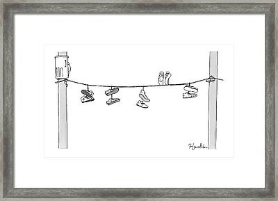 Several Pairs Of Shoes Dangle Over An Electrical Framed Print