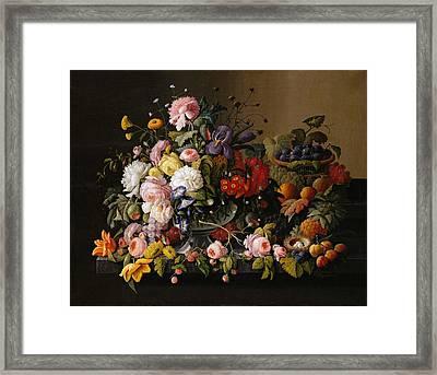 Severin Roesen Still Life Flowers And Fruit 1850 Framed Print
