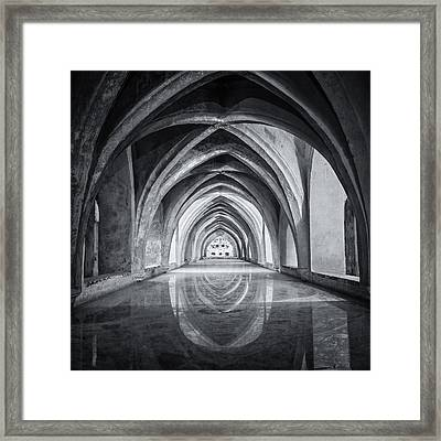 Baths At Alcazar Seville Bw Framed Print by Joan Carroll