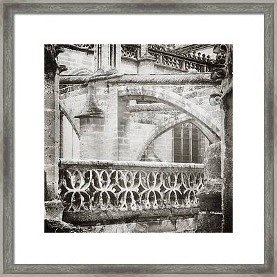 Seville Cathedral Buttresses Black And White Framed Print by Angela Bonilla