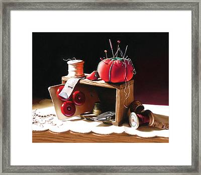 Sewing Box In Reds Framed Print by Dianna Ponting