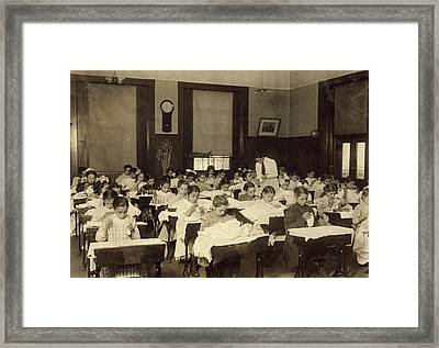 Sewing Class, 1909 Framed Print by Granger