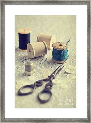 Sewing Cotton Framed Print by Amanda Elwell