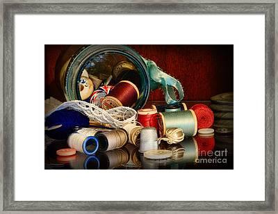 Sewing - Grandma's Mason Jar Framed Print by Paul Ward