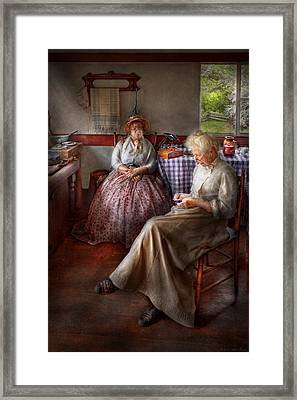 Sewing - I Can Watch Her Sew For Hours Framed Print by Mike Savad