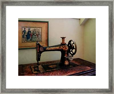 Sewing Machine And Lithograph Framed Print