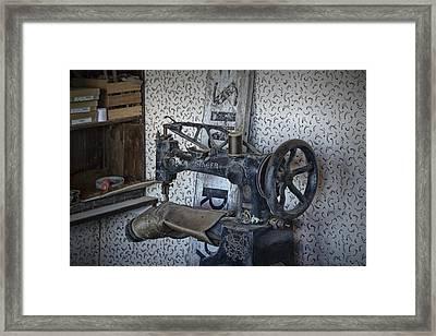 Sewing Machine In A Shoe Repair Shop Framed Print