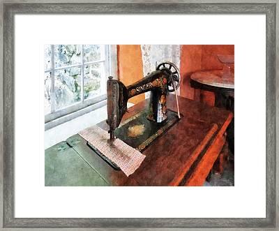 Sewing Machine Near Lace Curtain Framed Print by Susan Savad