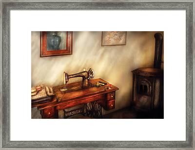 Sewing Machine - Sewing In A Cozy Room  Framed Print by Mike Savad