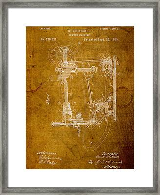 Sewing Machine Vintage Patent On Worn Canvas Framed Print by Design Turnpike