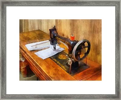 Sewing Machine With Orange Thread Framed Print by Susan Savad
