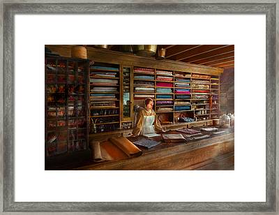 Sewing - Minding The Mending Store Framed Print by Mike Savad