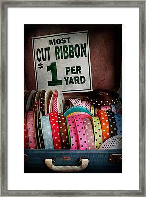 Sewing - Ribbon By The Yard Framed Print by Mike Savad