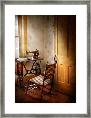 Sewing - She Used To Love This Machine Framed Print by Mike Savad