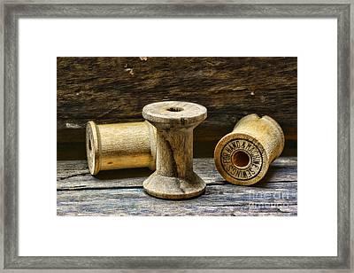 Sewing Vintage Wood Spools Framed Print by Paul Ward