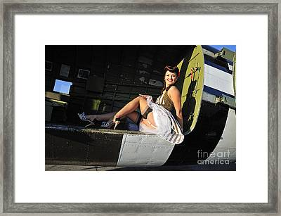 Sexy 1940s Style Pin-up Girl Sitting Framed Print by Christian Kieffer