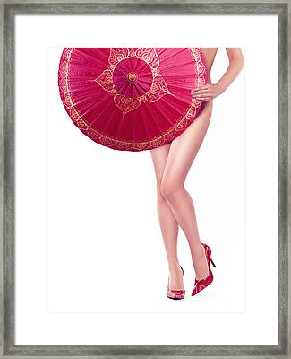 Sexy Asian Woman With Red Oriental Umbrella Framed Print by Oleksiy Maksymenko