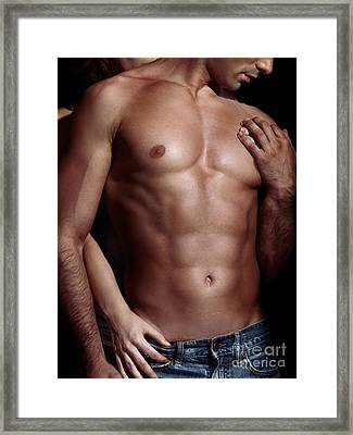 Sexy Couple Woman Behind Man With Sexy Muscular Bare Torso Framed Print