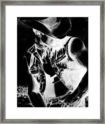 Print With Black And White Sexy Cowboy  Framed Print