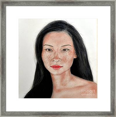 Sexy Freckle Faced Beauty Lucy Liu Framed Print by Jim Fitzpatrick