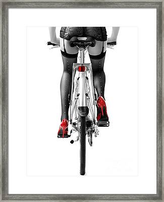 Sexy Woman In Red High Heel Shoes And Stockings Riding Bicycle Framed Print by Oleksiy Maksymenko