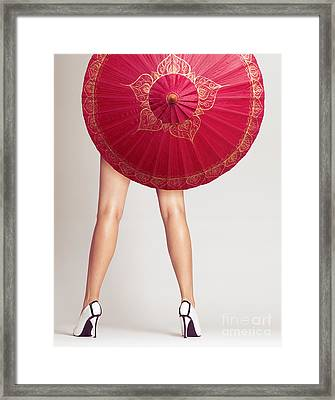 Sexy Woman Legs Behind Red Chinese Umbrella Framed Print by Oleksiy Maksymenko