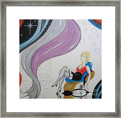 Sexy Woman Sitting In A Chair At A Nightclub Framed Print