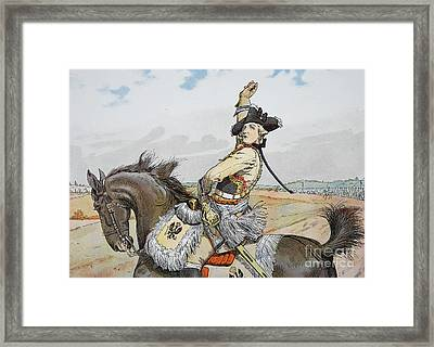 Seydlitz At Rossbach Framed Print by Richard Knoetel