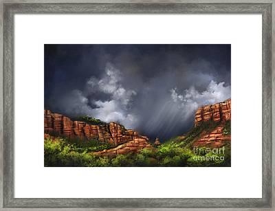 Thunderstorm In Sedona Framed Print