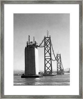 Sf Bay Bridge Construction Framed Print