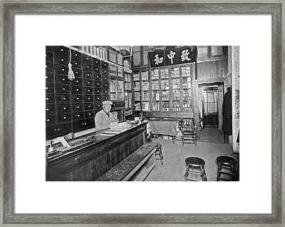 Sf Chinese Apothecary Framed Print by Underwood Archives