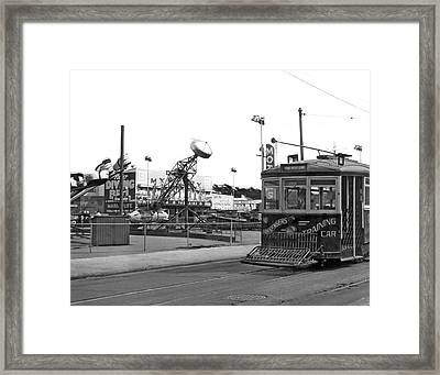Sf Streetcar At Playland Framed Print by Underwood Archives