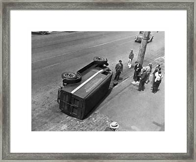 Sf Strikers Turnover Truck Framed Print by Underwood Archives