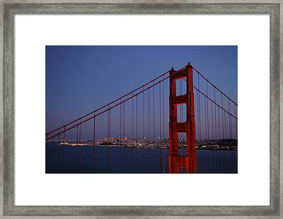 Sf Through The Bridge Framed Print