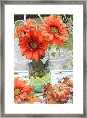 Shabby Chic Autumn Fall Orange Daisy Flowers In Mason Ball Jar - Autumn Fall Flowers Gerber Daisies Framed Print