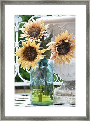 Shabby Chic Autumn Fall Yellow Sunflowers In Mason Ball Jar - Vintage Flowers Mason Jar  Framed Print by Kathy Fornal