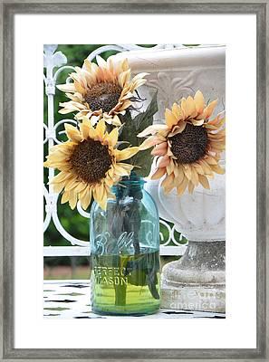 Shabby Chic Autumn Fall Yellow Sunflowers In Mason Ball Jar - Vintage Flowers Mason Jar  Framed Print