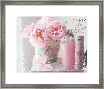 Shabby Chic Cottage Pink Parisian Peonies - Romantic French Impressionistic Pink Peonies Framed Print by Kathy Fornal